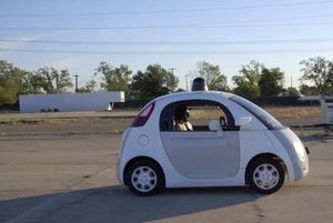 google self driving car male staffer on road may15 2015