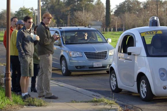 google self driving car no driver on road car staffers may15 2015 18