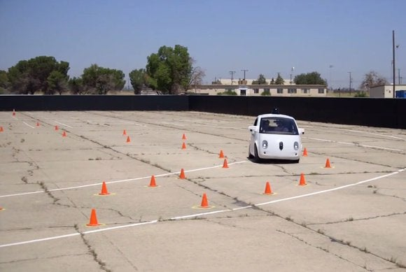 google self driving car orange coned test course may15 2015 11