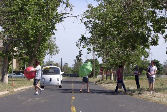 google self driving car pedestrian test may15 2015