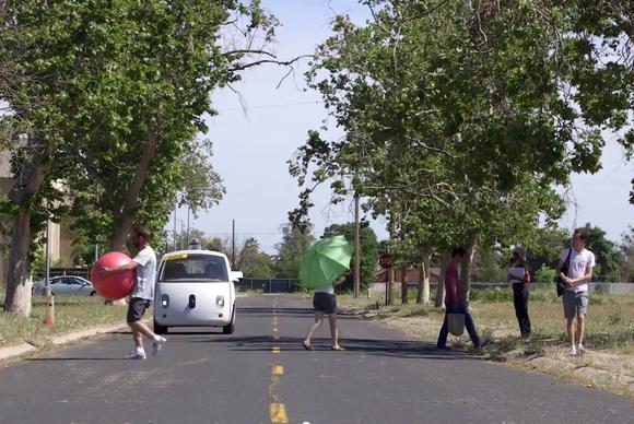 google self driving car pedestrian test may15 2015