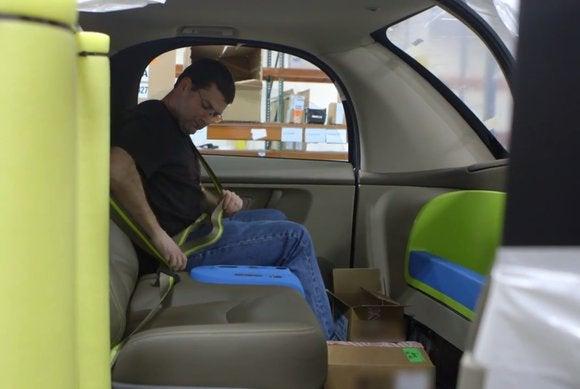 google self driving male staffer inside seatbelt may15 2015 9