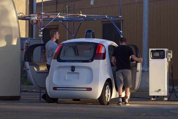 google self driving two male staffers entering may15 2015 10