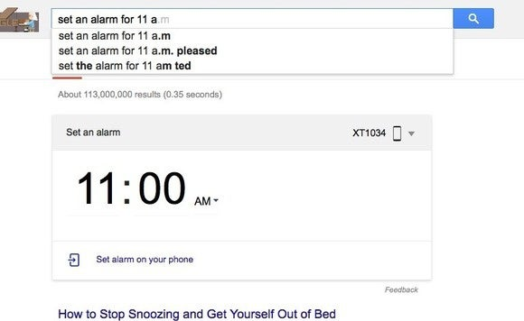Set an alarm from Google desktop search