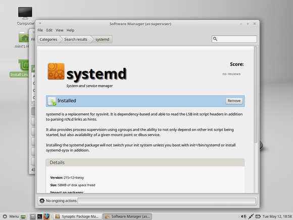 lmde 2 with systemd installed but not activated