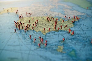 map with pushpins