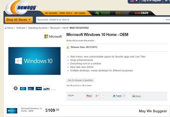 newegg windows 10 home price