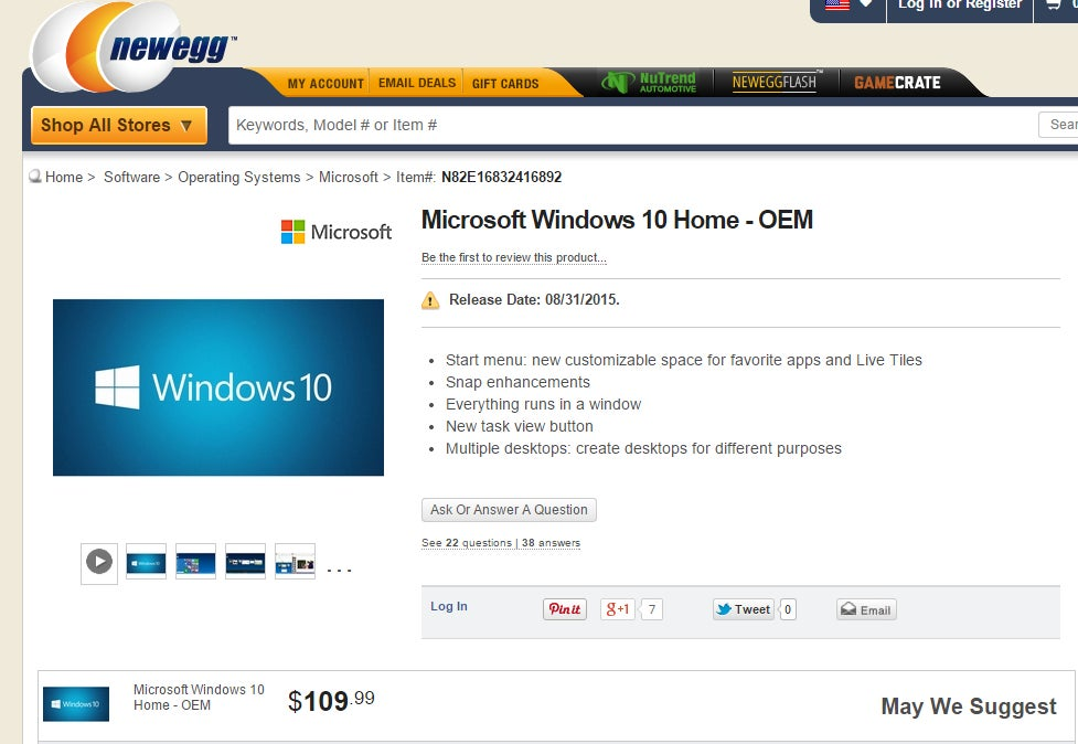 windows 10 price