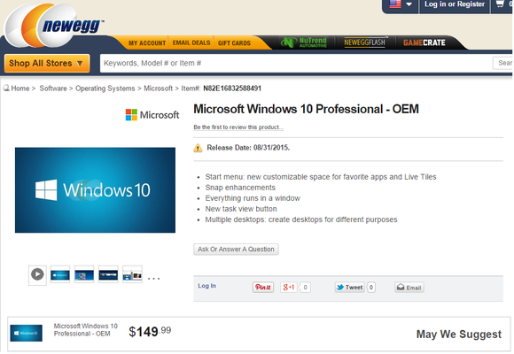 newegg windows 10 professional price
