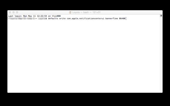 notifications timer terminal