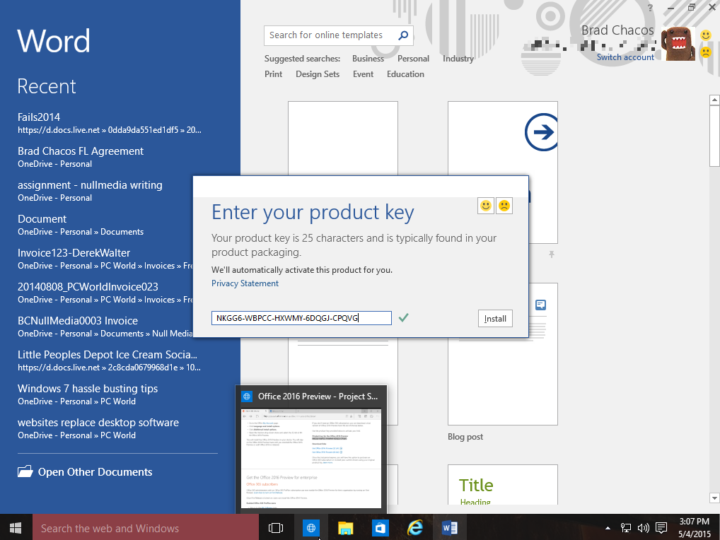 microsoft office 2016  and product key