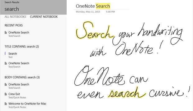 onenote handwriting search