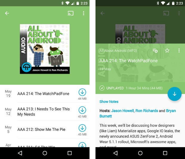 pocket casts material design