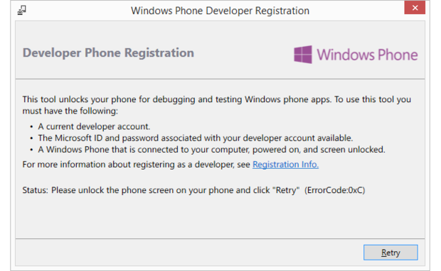Windows Phone Registration Tool error code 0xC
