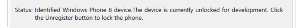 Windows Phone is unlocked and registered for development.