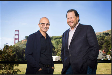 Microsoft Satya Nadella and Salesforce Eric Benioff