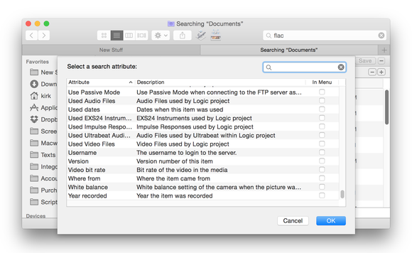 Finder search in OS X Yosemite