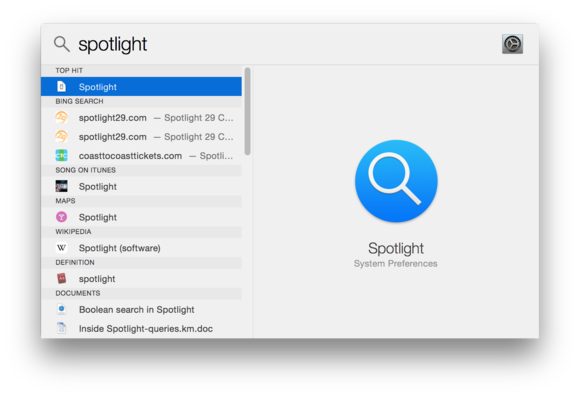 Spotlight search results