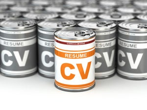 cans of CV resumes as metaphor for brand