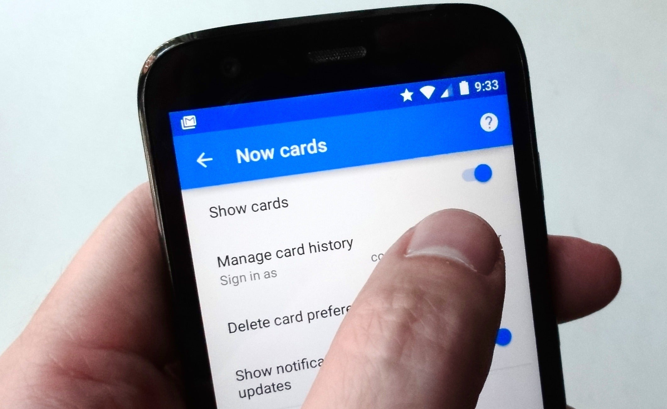 had enough google now cards you can always just turn them off - Android Time Card