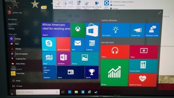 windows 10 aero glass start meu