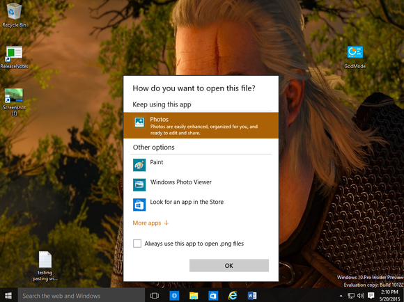 windows 10 build 10122 choose default app