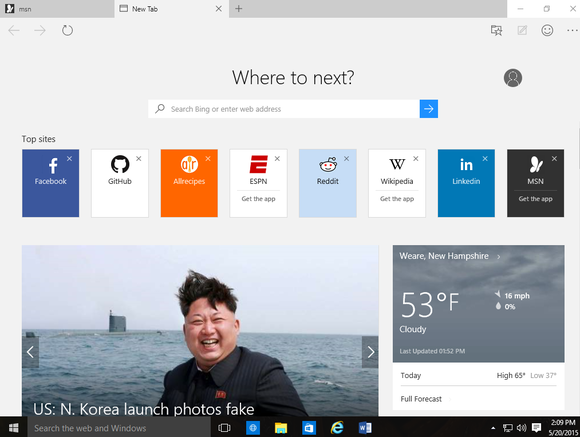 windows 10 build 10122 edge new tab page