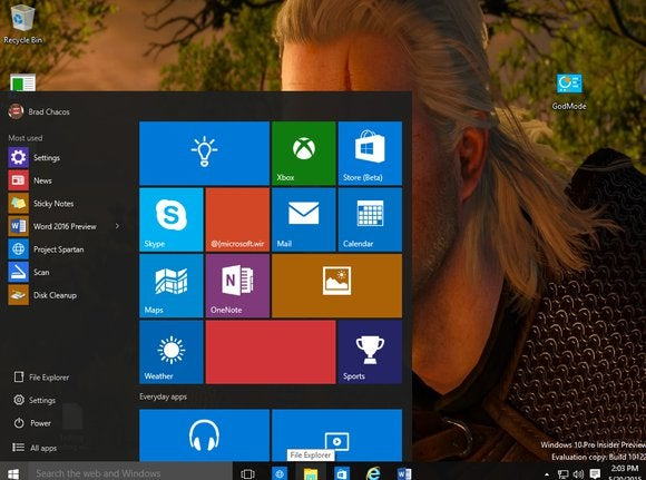 windows 10 build 10122 start menu