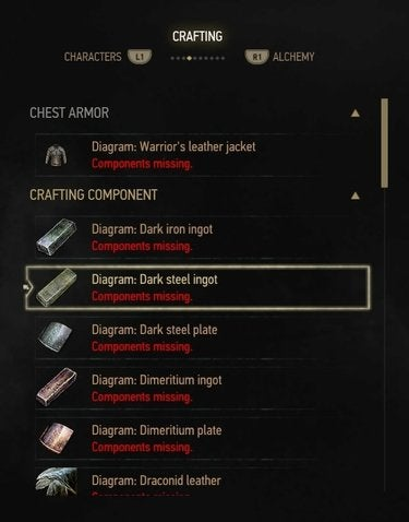 The Witcher crafting interface