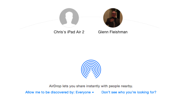yosemite showing airdrop with older