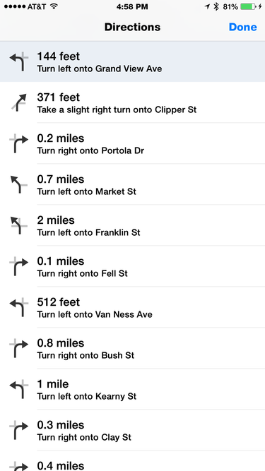 apple maps list view