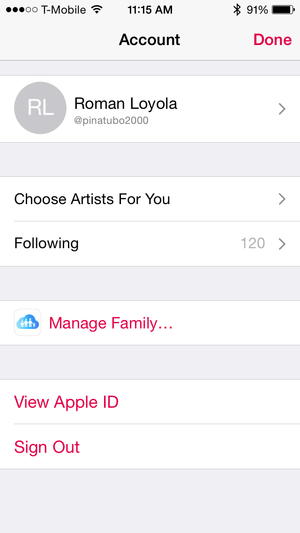apple music account view apple id