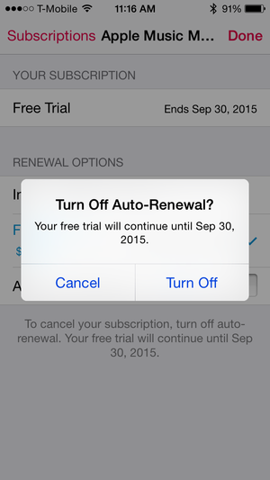 apple music stop autorenewal