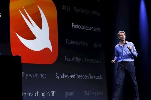 Apple's Craig Federighi in front of a Swift logo at WWDC 2015