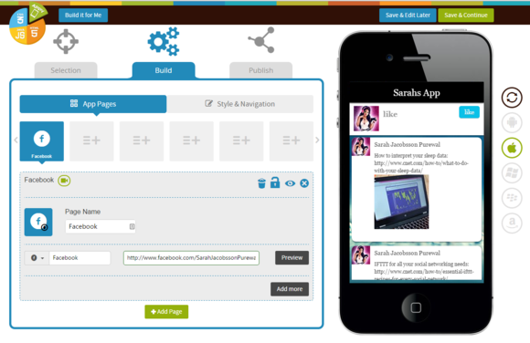 appypie step 2 building app add pages facebook preview