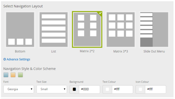appypie step 2 building app style navigation nav layout