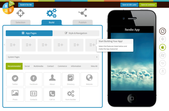 appypie step 2 start building app app pages screen