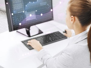 businesswoman computer
