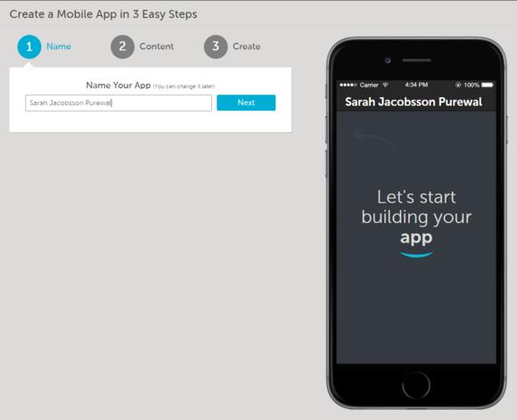 como step 1 name your app