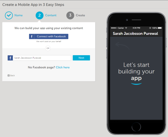 como step 2 draw app info from facebook or facebook page