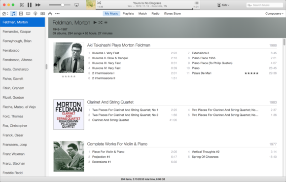 iTunes composer view