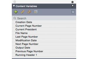 QuarkXPress 2015 content variables palette