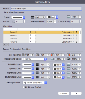 QuarkXPress 2015 edit table style