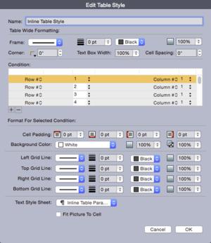 QuarkXPress 2015 edit table style