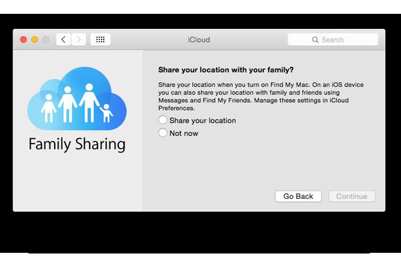 family sharing setup share location