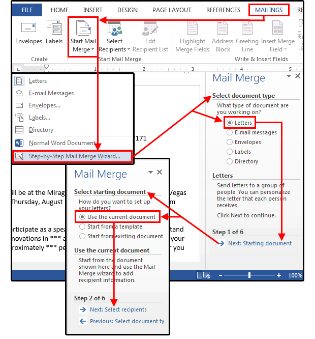 Mail merge master class how to merge your excel contact database figure1 mail merge step 1 select starting document m4hsunfo Gallery