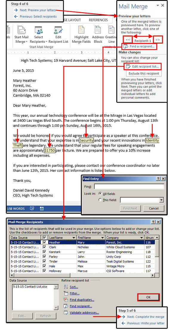 figure7 mail merge step 4 preview your letters