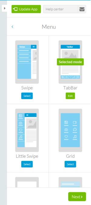 goodbarber step 2 menu and navigation layout