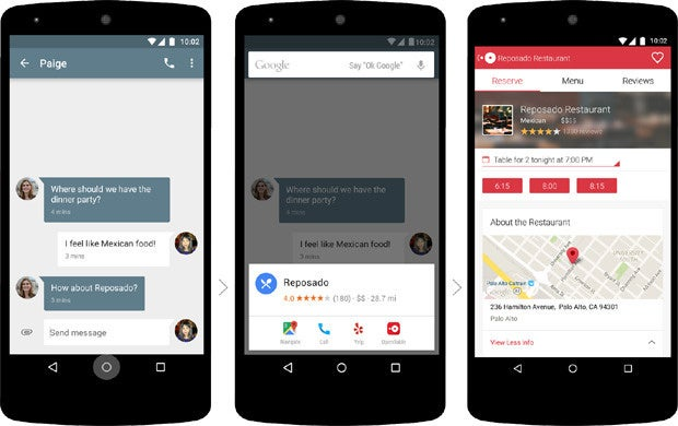 Google Now on Tap: Restaurant