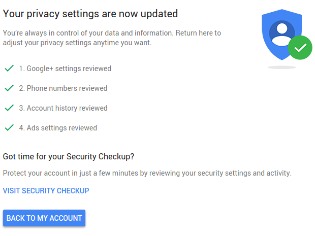 google privacy checkup tool